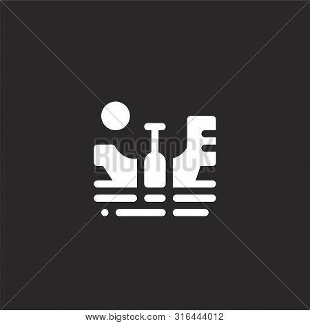 Gondola Icon. Gondola Icon Vector Flat Illustration For Graphic And Web Design Isolated On Black Bac