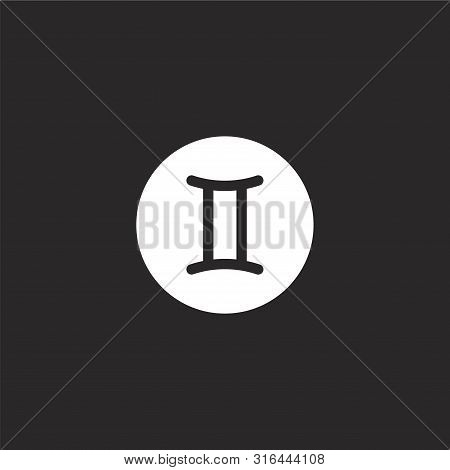 Gemini Icon. Gemini Icon Vector Flat Illustration For Graphic And Web Design Isolated On Black Backg