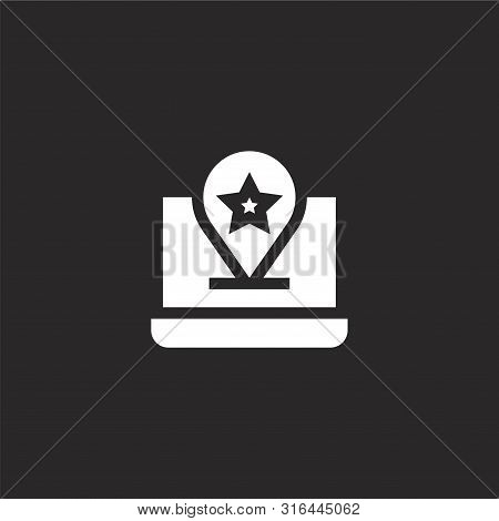 Rating Icon. Rating Icon Vector Flat Illustration For Graphic And Web Design Isolated On Black Backg