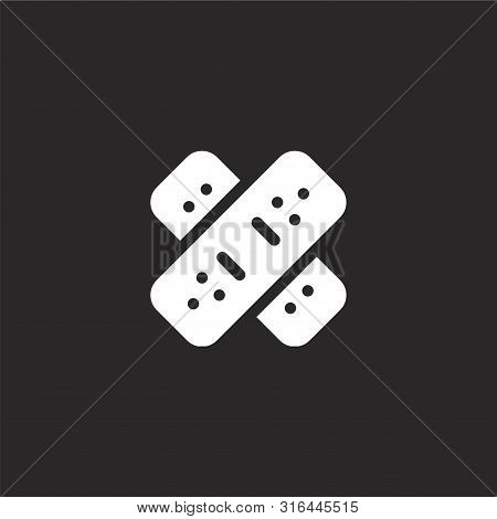 Band Aid Icon. Band Aid Icon Vector Flat Illustration For Graphic And Web Design Isolated On Black B