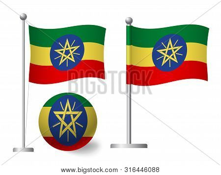 Ethiopia Flag On Pole And Ball. Metal Flagpole. National Flag Of Ethiopia Vector Illustration