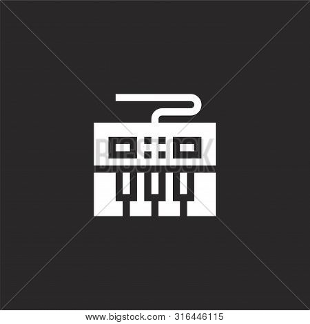 Keyboard Icon. Keyboard Icon Vector Flat Illustration For Graphic And Web Design Isolated On Black B