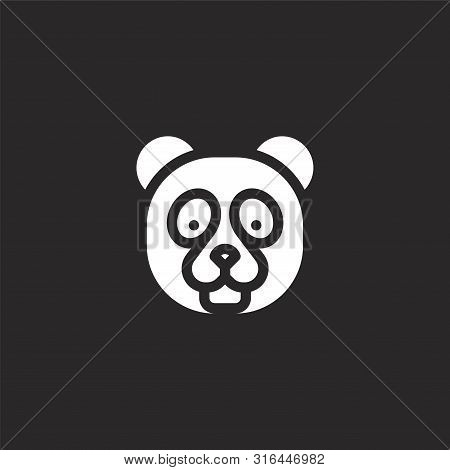 Panda Bear Icon. Panda Bear Icon Vector Flat Illustration For Graphic And Web Design Isolated On Bla