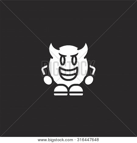 Devil Icon. Devil Icon Vector Flat Illustration For Graphic And Web Design Isolated On Black Backgro