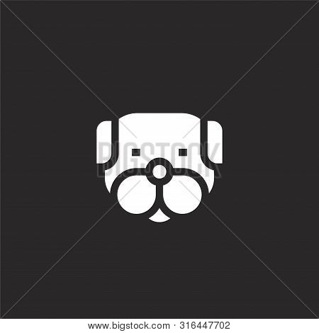 Dog Icon. Dog Icon Vector Flat Illustration For Graphic And Web Design Isolated On Black Background