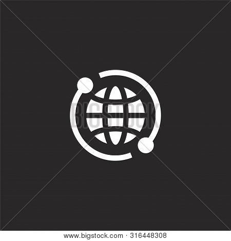 Worldwide Icon. Worldwide Icon Vector Flat Illustration For Graphic And Web Design Isolated On Black