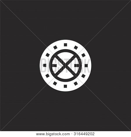 Circular Icon. Circular Icon Vector Flat Illustration For Graphic And Web Design Isolated On Black B