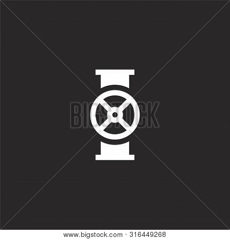 Valve Icon. Valve Icon Vector Flat Illustration For Graphic And Web Design Isolated On Black Backgro