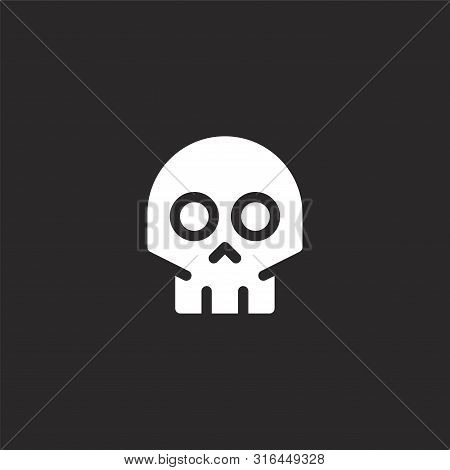 Skull Icon. Skull Icon Vector Flat Illustration For Graphic And Web Design Isolated On Black Backgro