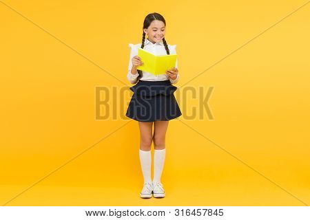 Towards knowledge. Learn following rules. Welcome back to school. School lesson. Study literature. Inspirational quotes motivate kids for academic year ahead. School girl formal uniform hold book. poster