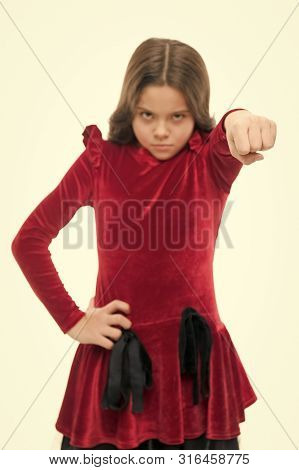 Strong Temper. Threatening With Physical Attack. Kids Aggression Concept. Aggressive Girl Threatenin
