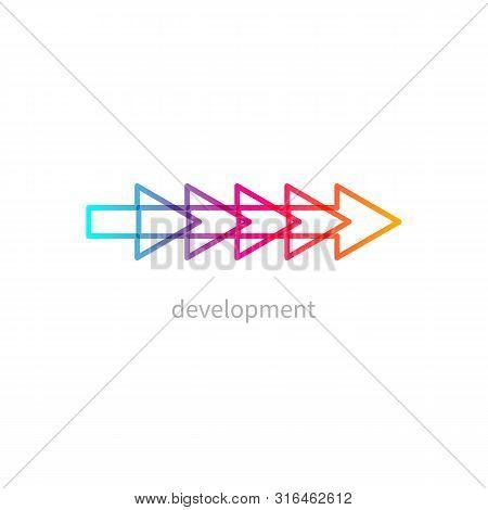 Icon Development, Gradient Business Logo, Color Arrow, Coaching, Mentoring, Transformation Vector Gr