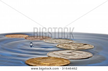 Coins on water