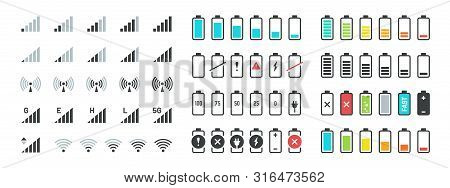 Battery And Signal Icons. Line And Black Phone Charge Status, Gsm And Wifi Signal Strength, Smartpho