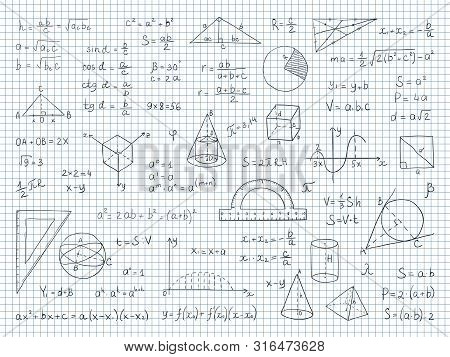 Doodle Math. Physics And Geometry Formulas End Equations, School Science Graphs And Trigonometry. Ve
