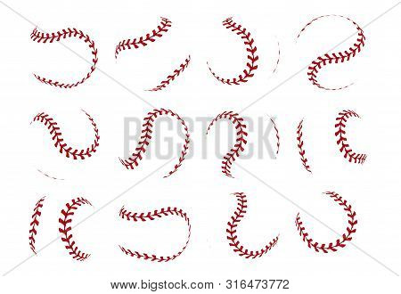 Baseball Ball Lace. Realistic Softball Stroke Lines For Sport Logo And Banners. Vector Set Isolated