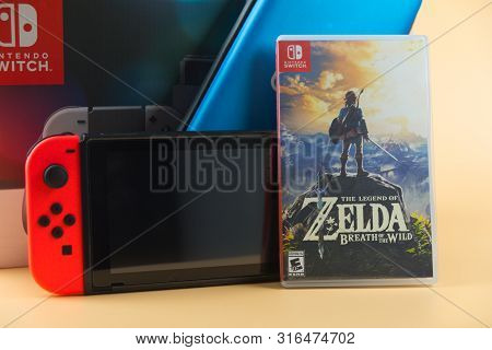Bangkok, Thailand - August 11, 2019. Nintendo Switch, The Video Game Console For Home Or Portable Ga