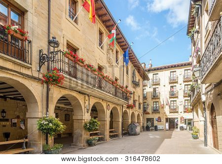 Laguardia,spain - May 18,2019 - View At The Town Hall Of Laguardia. Laguardia Is A Town And Municipa