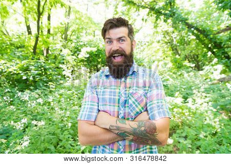 Im Happy Its My Vacation. Cheerful Caucasian Guy Going On Vacation On Natural Landscape. Bearded Man