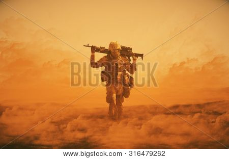 Illustration Digital Painting/military Soldier Walking At Desert With Gun On His Shoulder In Front O