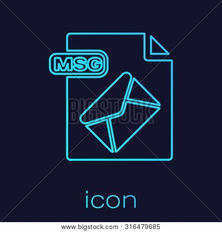 Turquoise Line Msg File Document. Download Msg Button Icon Isolated On Blue Background. Msg File Sym