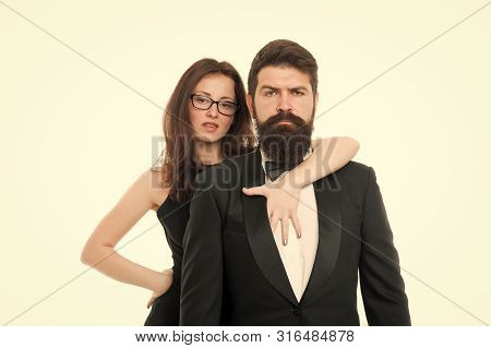 Formal Fashion. Business Couple. Love. Romantic Couple In Love. Elegant Couple In Formal Wear. Sexy