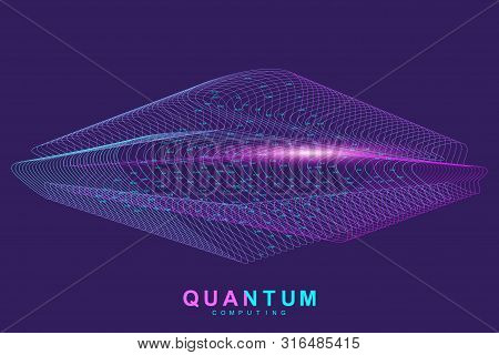 Quantum Computing Technology Concept. Deep Learning Artificial Intelligence. Big Data Algorithms Vis