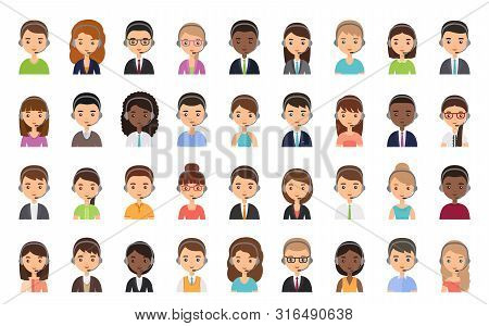 Call Center Customer Operator Avatar. Vector. Service Agent Representative Icon In Headset. Flat Des