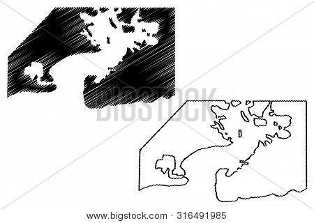 Guantanamo Bay Naval Base (republic Of Cuba, United States Of America) Map Vector Illustration, Scri