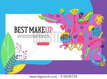 Set Of Cards With Doodle Makeup Elements