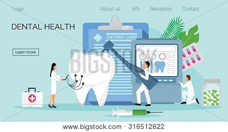 Tiny Dentists Work, Treat Illness Tooth. Dental Health Vector Concept For Landing Page, Banner, Post