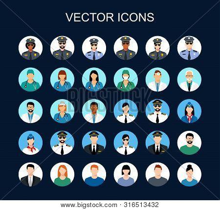 Profession Icon Set. Avatars Profession People: Cop, Pilot, Stewardess, Doctor,  Nurse, Office Worke