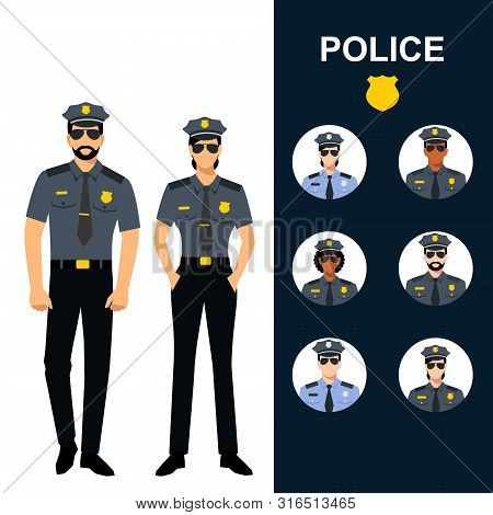 Police Man And Woman - Icons Set. Professions - Police Officers. Cops In Uniform Vector Illustration