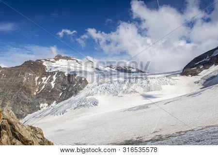 Glacier At Sustenhorn In Switzerland With Clouds