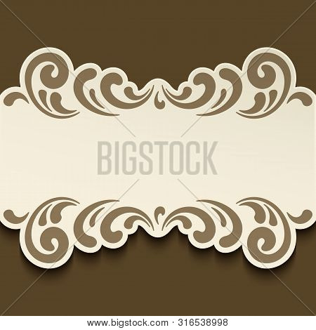 Cutout Paper Label With Ornamental Swirly Border Pattern, Elegant Vector Decoration For Save The Dat