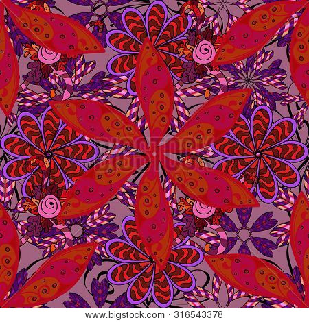 Flat Flower Elements Design Vector Illustration. Flowers On Black, Violet And Red Colors.colour Spri