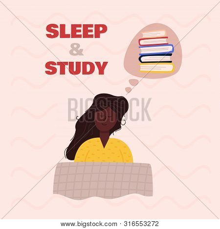 Image Sleeping Girl With Long Chestnut Hair And Dark Skin Lying Under Checkered Blanket On Pillow, D