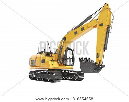 Orange Single Bucket Excavator With Hydraulic Mechpatoy On Tracked Metal Go Isolated 3d Render On Wh