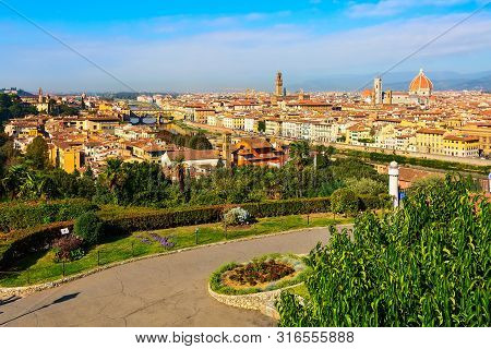 Florence, Italy Piazzale Michelangelo And Aerial View Of Historical Medieval Buildings With Duomo Sa