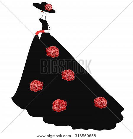 A Girl In A Hat And A Long Black Dress With Red Peonies.