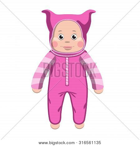 Baby Plastic Doll Toy Baby In Rose Jumpsuit And Beanie. Design Element Emblem Icon. Vector Illustrat