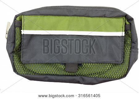 Side view of toiletry bag isolated on white poster