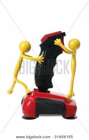 Rubber Figures and Joystick on White Background poster
