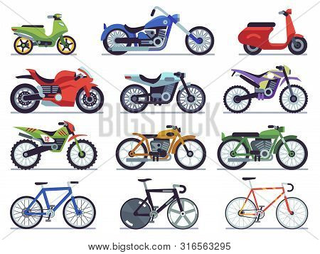 Motorcycle Set. Motorbike And Scooter, Sport Bike And Chopper. Motocross Race And Delivery Vehicles