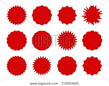 Starburst Stickers. Star Shaped Sale Banners, Speech Bubble Stickers. Red Explosion Signs, Promo Pri