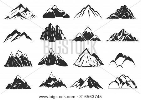 Mountain Icons. Mountains Top Silhouette Shapes, Snow Rocky Range. Outdoor Landscape Hill Peaks Symb