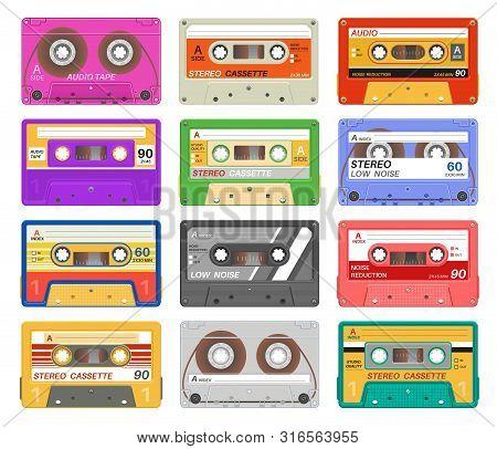 Cassettes. Different Color Music Tape Retro Audio Cassette. Old School 90s Record Technology Vintage