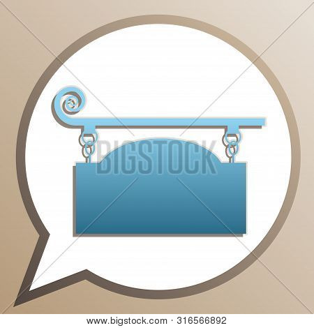 Wrought Iron Sign For Old-fashioned Design. Bright Cerulean Icon In White Speech Balloon At Pale Tau