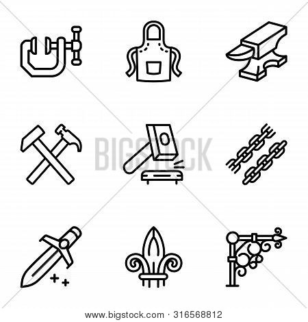 Steel Blacksmith Object Icon Set. Outline Set Of 9 Steel Blacksmith Object Vector Icons For Web Desi