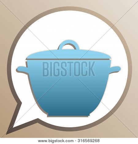 Saucepan Simple Sign. Bright Cerulean Icon In White Speech Balloon At Pale Taupe Background. Illustr